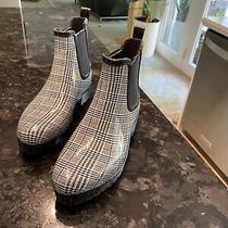 Jeffrey Campbell Ladies Size 9 Rain Boot Black and White Plaid Bootie  Photo