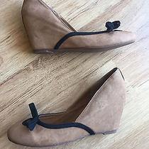Jeffrey Campbell Ladylike 40's Inspired Tan Suede Wedges Shoes Heels 7.5  8 8.5 Photo