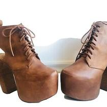 Jeffrey Campbell - Lana- Brown Leather Platform Boots 39 Photo
