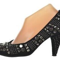 Jeffrey Campbell Lane Stud Shoes Size 6.5 Black Leather Classic Pumps Heels Photo
