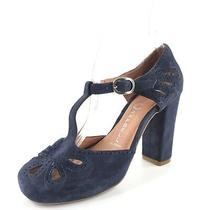 Jeffrey Campbell Last Ibiza Navy Suede T Strap Sandals Womens Size 6 M Photo