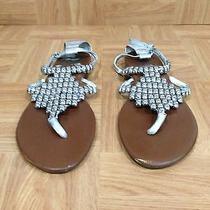 Jeffrey Campbell Last Ibiza Nina 2 Metallic Silver Leather Sandals Size 8 M Photo