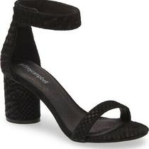 Jeffrey Campbell Laura Black Suede Snake Embossed Heeled Sandals Size 8 Photo