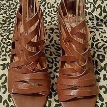 Jeffrey Campbell  Lbiza Brown Leather Gladiator Wedge Sandals 210 - Size 10 Photo