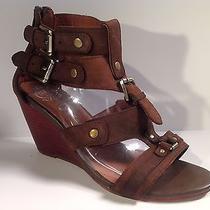 Jeffrey Campbell  Lbiza Brown Leather Gladiator Wedge Sandals Sz 8  210 Photo