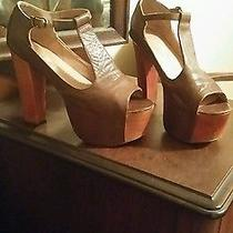Jeffrey Campbell Leather Foxy T Strap Platform Toe Sandle Wood Heels Size 7.5 Photo