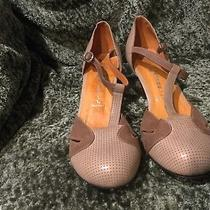 Jeffrey Campbell Light Brown Tan Beige Leather Buckle Strap 50s Heels Shoes 10 Photo