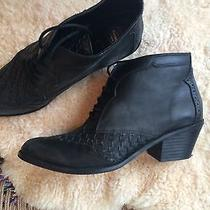Jeffrey Campbell Like New Black Leather Booties Size 10m Fits Like Size 9.5 Photo