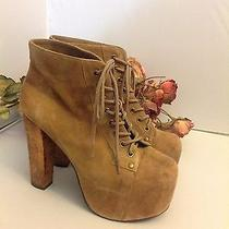 Jeffrey Campbell Lita Ankle Bootie Platforms Taupe Suede Us 9.5 160 Boots Photo