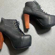 Jeffrey Campbell Lita Black Leather Platform Ultra Heels Lace Up Msrp 169.99 Photo