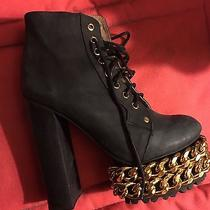 Jeffrey Campbell Lita Chain Leather Boots Size 8.5 Black /gold  Photo