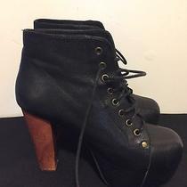 Jeffrey Campbell Lita Havana Last Black Suede Platform Booties Shoes Lace Up 7.5 Photo