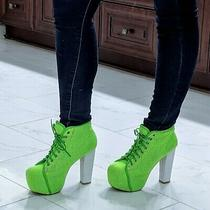 Jeffrey Campbell Lita Neon Alien Green Mesh Booties Rave Platform Boots 7.5 / 8 Photo