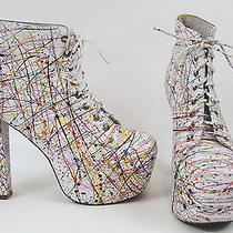 Jeffrey Campbell Lita Paint Multi Color Boots Sz. 8.5 Photo