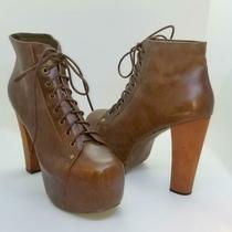 Jeffrey Campbell Lita Platform Ankle Brown Leather Lace Up Boots Booties  9m Photo