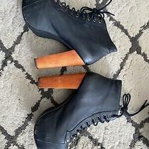 Jeffrey Campbell Lita Platform Boot Size 5 Black W/ Wood Heel Booties Photo