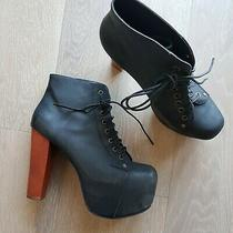Jeffrey Campbell Lita Platform Bootie Ankle  Black Leather Wood Block Heel 9.5 Photo