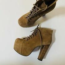 Jeffrey Campbell Lita Size 7.5 Brown Suede Leather Platform Lace Up Boots Bootie Photo