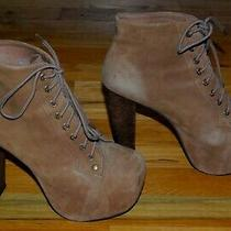 Jeffrey Campbell Lita Tan Suede Lace Up Platform Bootie / Women's Size 7.5 Photo