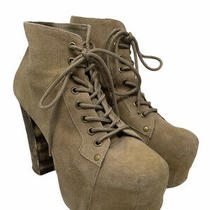 Jeffrey Campbell Lita Tan Suede Lace Up Platform Bootie / Women's Size 9 Photo