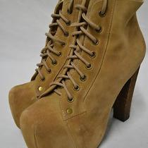 Jeffrey Campbell Lita Taupe Platform Boots Heels Suede Womens Shoes Size 6 New Photo