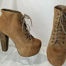 Jeffrey Campbell Lita Women's Brown Suede Platform Lace Up Ankle Boots Size 9 M Photo