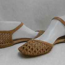 Jeffrey Campbell Marcy Brown Woven Leather Wrapped Heel Buckle Flats Size 8.5 Photo