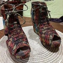 Jeffrey Campbell Mary Roks Aztec Print Wedge Heels Size 7 Photo
