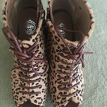 Jeffrey Campbell Mary Roks Wedges Platforms Sandals Cheetah Pony Hair Size 7.5 Photo