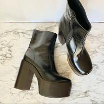 Jeffrey Campbell Mexique Retro 70s Black Leather Platform High Heel Boots 10 Photo