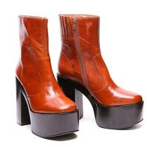 Jeffrey Campbell Mexique Vintage Retro Amber Platform Booties Size 8.5m New Photo
