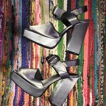 Jeffrey Campbell Mitra Pewter Satin Platform Sandals Size 10 Photo