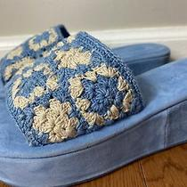 Jeffrey Campbell Mix-Up Platform Slide Sandal Blue Crochet Size 8 Photo