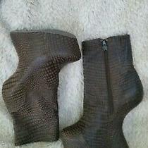 Jeffrey Campbell Moonover Platform Curved Heel Boots Brown Snakeskin Print 7.5 Photo