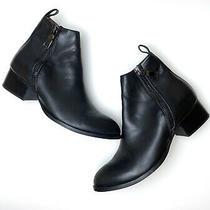 Jeffrey Campbell Muskrat Leather Booties Black Side Zipper Block Heel Sz 9.5 Photo