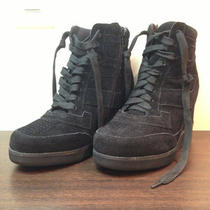 Jeffrey Campbell Napoles Suede Black Sneaker Wedges Size 6 Photo