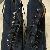 Jeffrey Campbell Navy Suade Open Toe Wedge Shoes Size 8 Photo