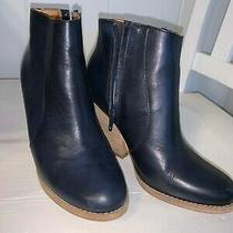Jeffrey Campbell Navy Washed Cow Leather Boots - Size 6 Pre-Owned Photo