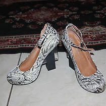 Jeffrey Campbell Neutra in Black Gold Floral Fabric Heels Size 8.5 Photo