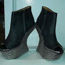 Jeffrey Campbell Night Tick Tac Open Toe Leather Heel Less Booties Goth Club 7.5 Photo