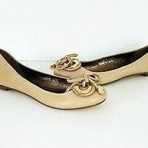 Jeffrey Campbell Nwob Beige Leather Gold 2 - Ring Bow Ballet Flats Sz 6.5 Photo