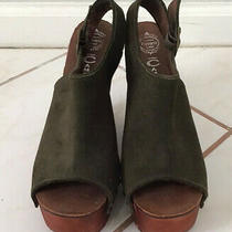 Jeffrey Campbell Olive Green Chunky Wooden Wedge Platform Size 9 Photo
