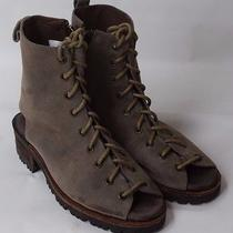 Jeffrey Campbell Olive Suede Lace Up Open Toe & Back Ankle Sandal Boot Womens 8  Photo