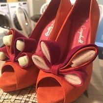 Jeffrey Campbell Orange Suede Peep Toe Heels Bow Women's Shoes Sz 8 Photo