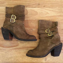 Jeffrey Campbell Outback Brown Suede Heeled Booties Strap Buckles Zip Up Women 8 Photo