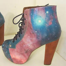 Jeffrey Campbell Paint Lita Platform Bootie  Black Leather Sz 5.5 Photo