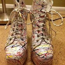 Jeffrey Campbell Paint White Lita Size 6.5 Photo