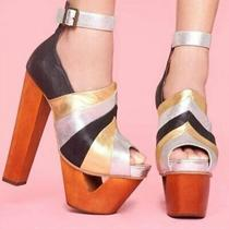 Jeffrey Campbell Pauline Platform Metallic Sandal Size 8.5 Disco Retro Club Photo