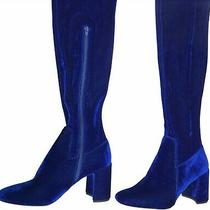 Jeffrey Campbell Perouze Over the Knee Boots Blue Velvet Size 8 Worn Once Photo