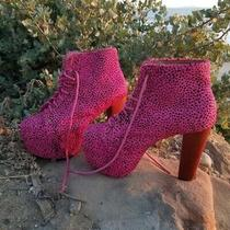 Jeffrey Campbell Pink Calf Hair Lita Booties Size 8 Photo